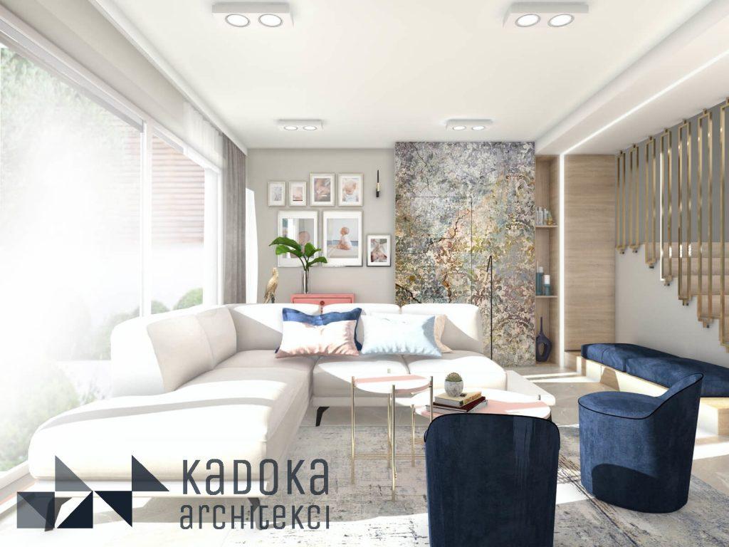 Nowoczesny salon z drzwiami ukytymi wykończonymi tapetą Marrakesh od WonderWall studio.