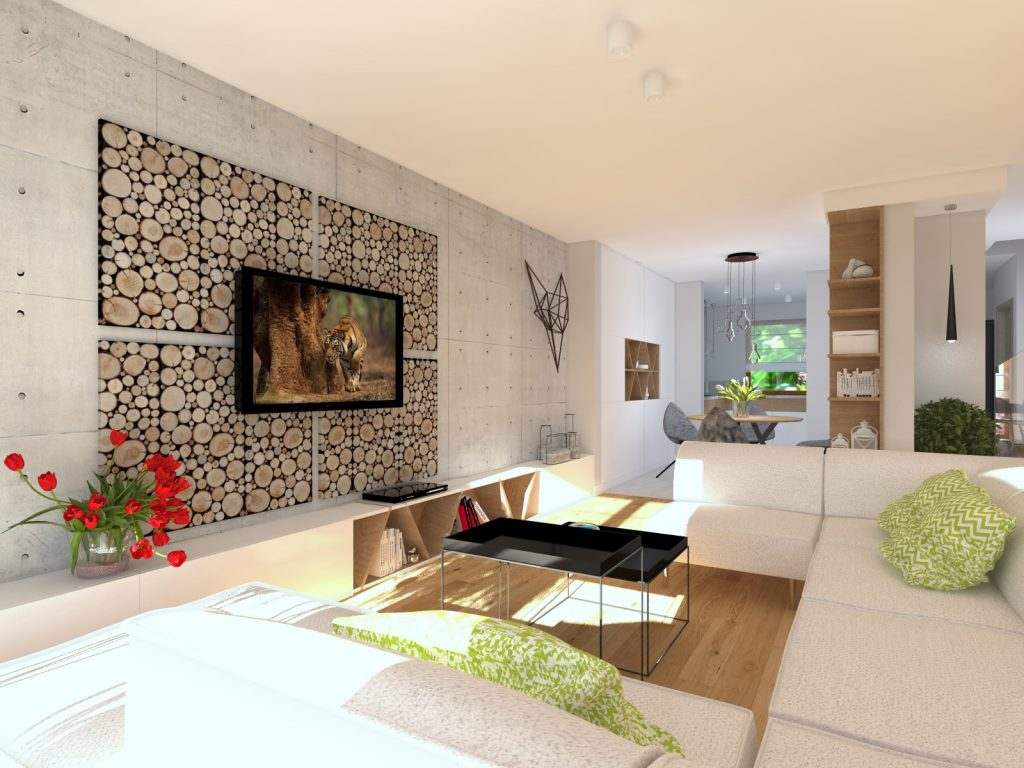 Projekt salonu w betonie