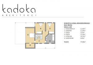 Dom z dużym tarasem rzut piętra