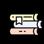 Ilustracja książek leżących na sobie