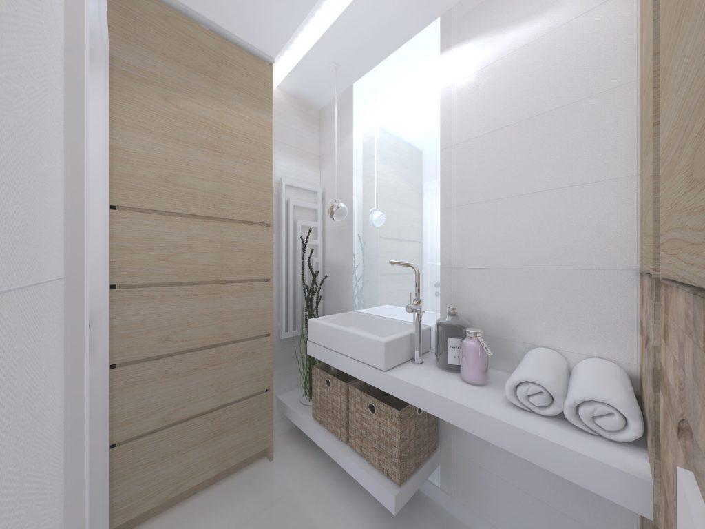 Mała łazienka beże szarość