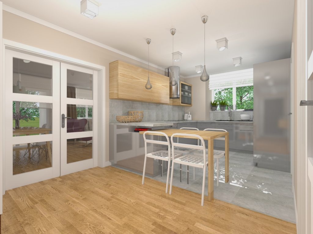 Projekt kuchni przytulne mieszkanie