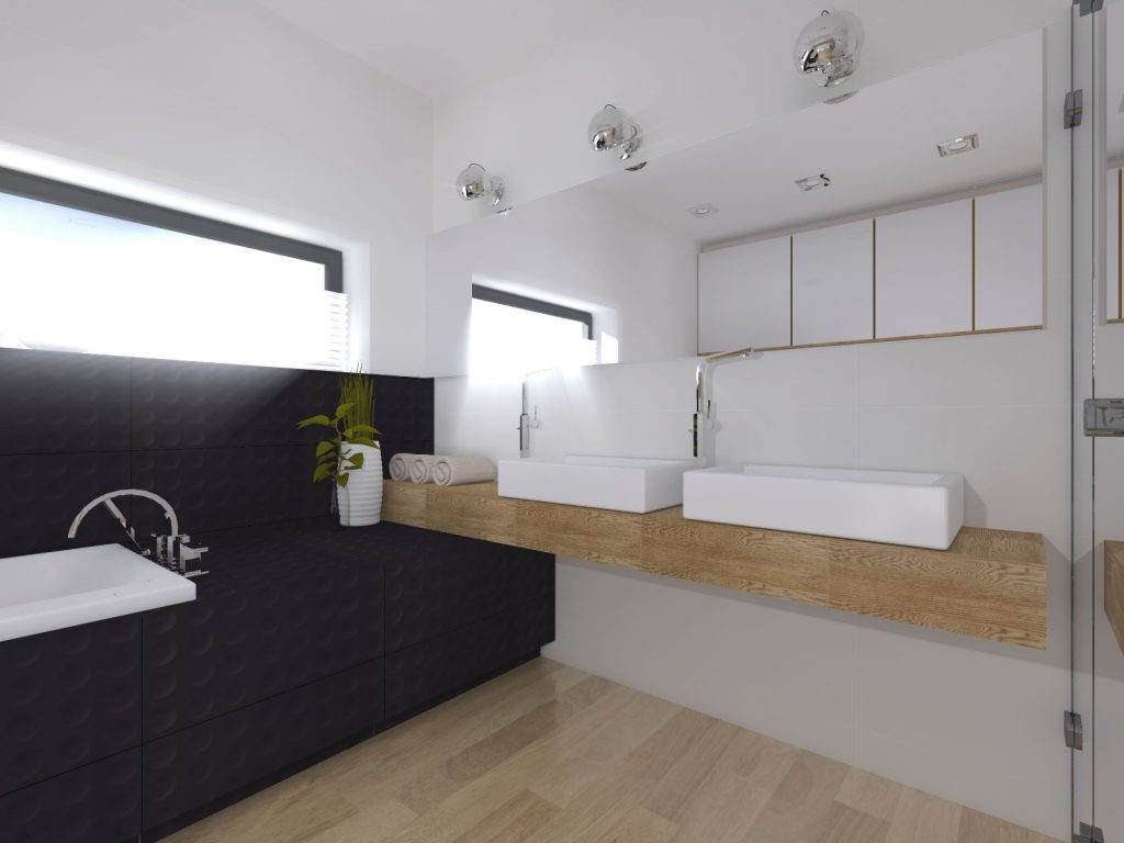Łazienka dwie umywalki architekt