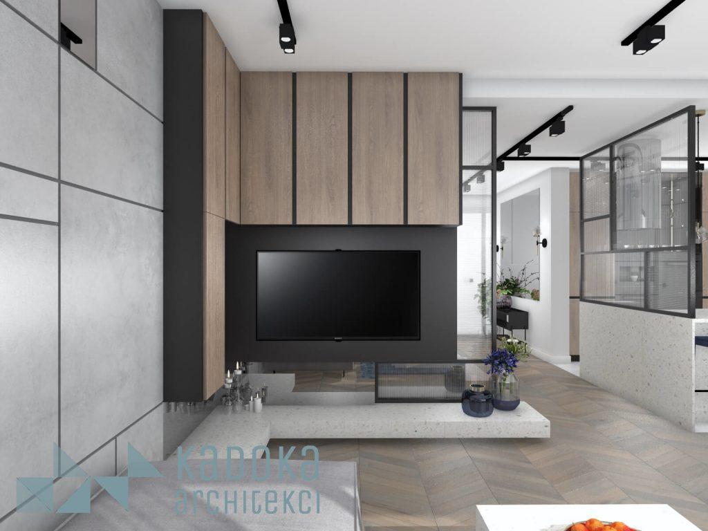 Zabudowa telewizora w salonie.