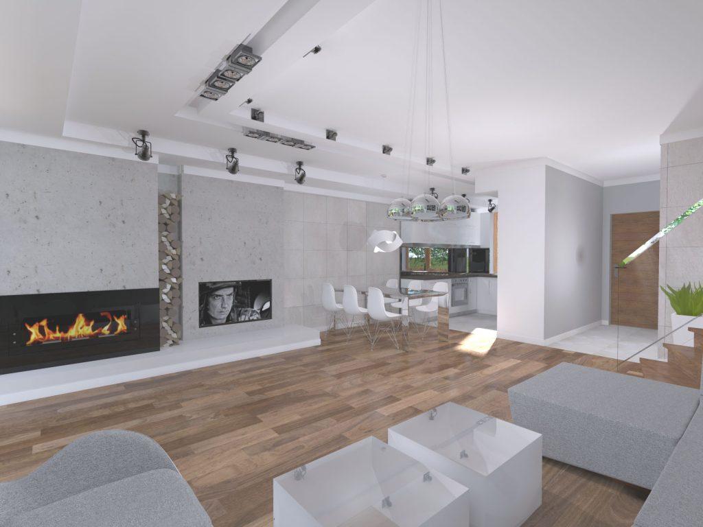 Projekt przestronnego salonu z kuchnią