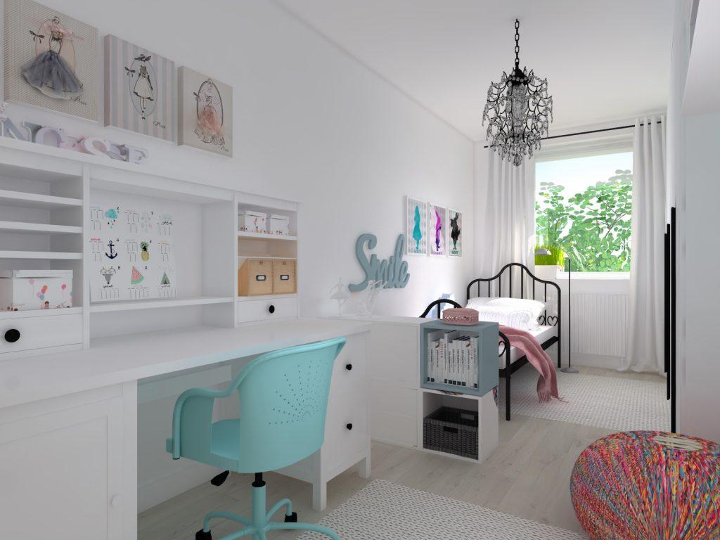 Projekt architektoniczny pokoju dziewczynki