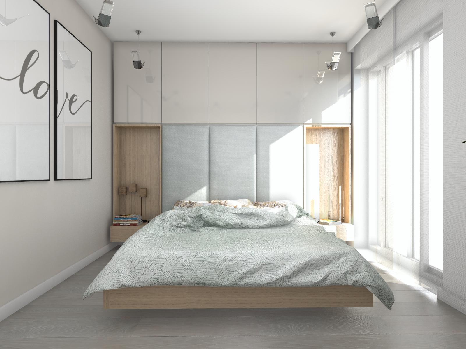 Jasna sypialnia rozświetlona światłem dziennym